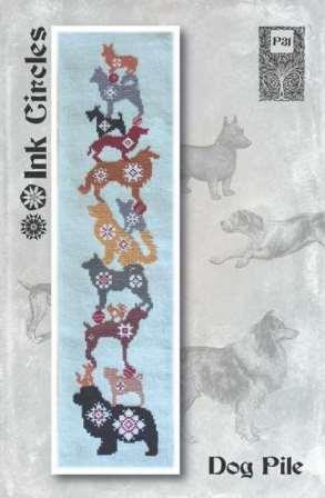 Ink Circles - Dog Pile-Ink Circles - Dog Pile, dogs, stitching band, quaker, cross stitch