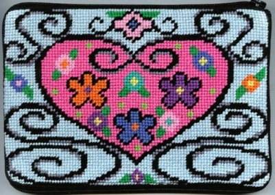 Alice Peterson Needlepoint - Stitch & Zip - Wrought Iron Heart - Cosmetic Case-Alice Peterson Needlepoint- Stitch & Zip - Wrought Iron Heart - Cosmetic Case