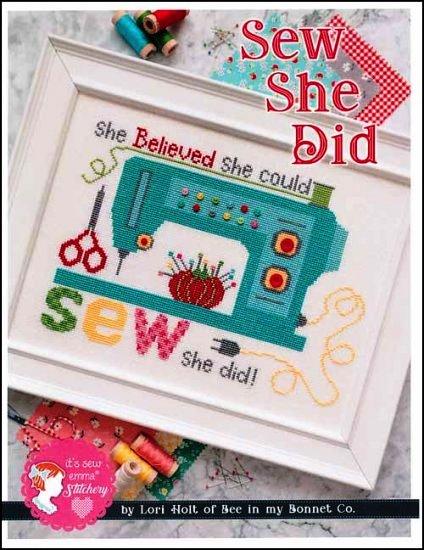 It's Sew Emma Stitchery - Sew She Did-Its Sew Emma Stitchery - Sew She Did, sewing machine, tomato, pin cushion, scissors, cross stitch