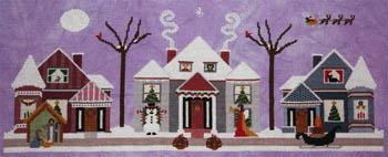 ixstitch.com - Merry Christmas Eve - Cross Stitch Pattern-ixstitch.com, Merry Christmas Eve, Christmas night, houses, Cross Stitch Pattern