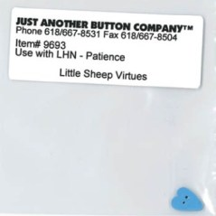 Just Another Button Company - Little Sheep Virtues - Patience Button-Just Another Button Company, Little Sheep Virtues, Patience, small blue heart, Button
