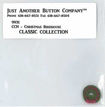 Just Another Button Company - CCN - Christmas Birdhouse Button (9931.G)-Just Another Button Company - CCN - Christmas Birdhouse 9931.G, Christmas Wreath, cross stitch button,