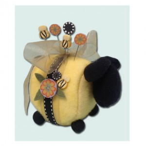 Just Another Button Company - Bumble-Ewe Pincushion Kit-Just Another Button Company, Bumble-Ewe Pincushion Kit, pins, bees, bumble bee, black sheep,