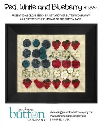 Just Another Button Company - Red, White and Blueberry Buttons with Free Chart-Just Another Button Company,  Red, White and Blueberry Buttons, with Free Chart, 4th of july, American flag, patriotic, red, white, blue, flowers,