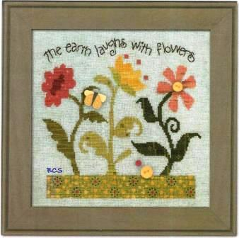 Just Another Button Company - Art To Heart - Garden Song - Part 3 - Laugh with Flowers - Cross Stitch Pattern-Just Another Button Company, Art To Heart, Garden Song, Laugh with flowers, buttons, garden, butterflies, flowers, Part 3, Laugh with Flowers, Cross Stitch Pattern