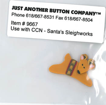 Just Another Button Company - Santa's Village - Santa's Sleighworks Button-Just Another Button Company, Santa's Village, reindeer button, embellishments, Santa's Sleighworks Button