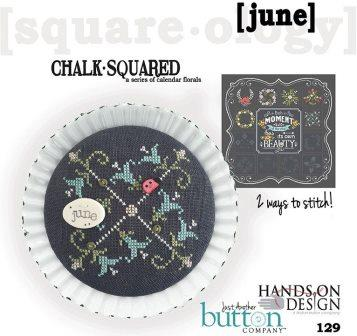 Hands On Design & Just Another Button Co - Chalk Squared #06 June-Hands On Design  Just Another Button Co - Chalk Squared 06 June, ladybug, flowers, calendar, cross stitch