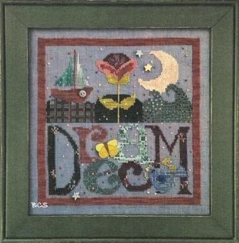 Just Another Button Company - Art To Heart Dream - Cross Stitch Pattern with Buttons-Just Another Button Company. Dream, Art To Heart, sailboat, sea, moon, flowers, butterflys,bluebird, stars, star buttons, butterfly button, Cross Stitch Pattern with Buttons