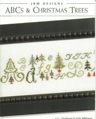 JBW Designs - ABC's & Christmas Trees - Cross Stitch Pattern-JBW Designs, ABC's & Christmas Trees, pine trees, alphabet, sampler, wintertime, forest, green needles, sap, red trees,  Cross Stitch Pattern