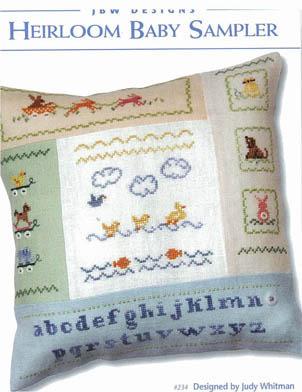 JBW Designs - Heirloom Baby Sampler-JBW Designs, Heirloom,Baby,Sampler,Cross, Stitch,Chart,alphabet, gift, pillow, ducks,dogs, rabbits,ocean, elephants,