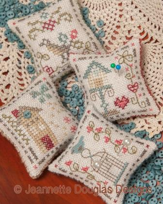 Jeannette Douglas Designs - Finger Pyn Pillows-Jeannette Douglas Designs -  Finger Pyn Pillows, pin cushions, cross stitch, birds, birdhouse,