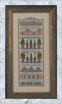 Just Nan - Emma & Eliza - In the Garden - Cross Stitch Pattern-Just Nan, Emma & Eliza In the Garden, cross stitch pattern