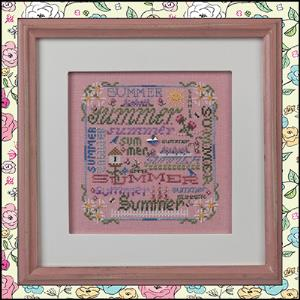 Just Nan - Summer Typography & Embellishments - Cross Stitch Pattern-Just Nan - Summer Typography & Embellishments - Cross Stitch Pattern