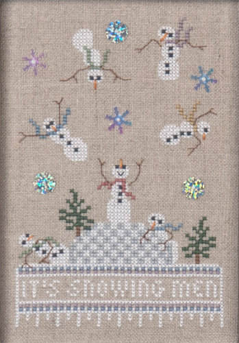 Just Nan - Just Dropping In - Part 1 - It\'s Snowing Men! - Cross Stitch Pattern-Just Nan, Just Dropping In, Part 1, It's Snowing Men!,Snowman, snowman falling, winter,  Cross Stitch Pattern
