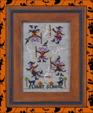 Just Nan - Just Dropping In - Part 3 - Flight School - Cross Stitch Pattern-Just Nan, Just Dropping In, Part 3, Flight School,  Halloween, witches, witches brooms, flying, trick or treat,  Cross Stitch Pattern