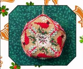 Just Nan - Tiny Christmas Biscornu-Just Nan - Tiny Christmas Biscornu, cardinal, Christmas ornament, cross stitch,