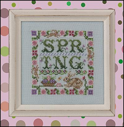 Just Nan - Spotted Hare Spring-Just Nan - Spotted Hare Spring, bunny, rabbit, springtime, Easter, Spring, flowers, cross stitch