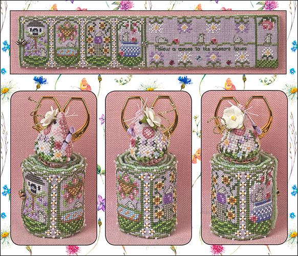 Just Nan - Summer Mouse Scissor Roll & Embellishments • Limited Edition 2018-Just Nan - Summer Mouse Scissor Roll  Embellishments  Limited Edition 2018, mouse, scissors, stitching, cross stitch, flowers,