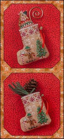 Just Nan - 2018 Ornament Shop - Gingerbread Mouse Elf Stocking - Limited Edition-Just Nan - 2018 Ornament Shop - Gingerbread Mouse Elf Stocking - Limited Edition, Christmas, ornament, mouse, cross stitch