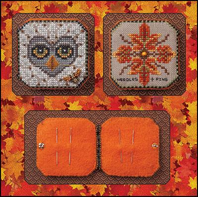 Just  Nan - Bumble & Hoot Needle Book & Embellishments-Just  Nan - Bumble  Hoot Needle Book  Embellishments, needle case, fall. autumn, cross stitch, owl, bee,
