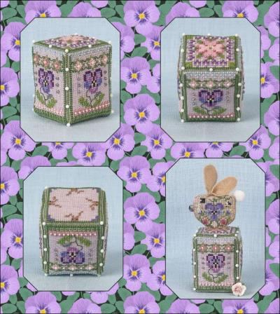 Just Nan - Pansy Rose Cube-Just Nan - Pansy Rose Cube, flowers, bunny, cross stitch, perch,