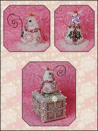 Just Nan - 2020 Ornament Shop - Crystal Snowlady Mouse-Just Nan - 2020 Ornament Shop - Crystal Snowlady Mouse, ornaments, decorations, cross stitch