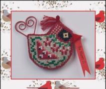 Just Nan - 2013 Ornament Shop - Cardinal Tweet with Embellishments-Just Nan, Cardinal Tweet, Christmas ornament, bird, red bird, Cross Stitch Pattern with Embellishments