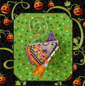 Just Nan - 2018 Ornament Shop - Hazel FunWitch Mouse - Limited Edition-Just Nan - 2018 Ornament Shop - Hazel FunWitch Mouse,  Halloween, mouse, broom, cross stitch