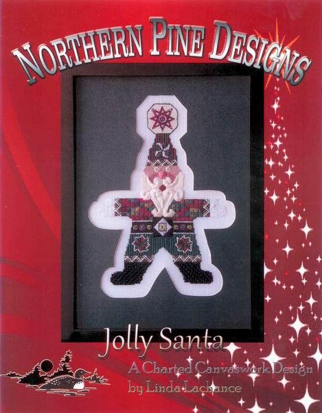 Northern Pine Designs - Jolly Santa - Needlepoint Pattern-Northern Pine Designs - Jolly Santa - Needlepoint Pattern, Santa Claus, Christmas, Christmas tree, Christmas ornament, white beard, Christmas star,