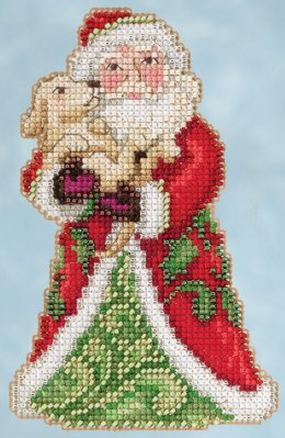 Mill Hill - Best Friend Santa by Jim Shore (2015)-Mill Hill - Best Friend Santa by Jim Shore 2015, winter, Christmas, puppy, cross stitch, ornament, beads,