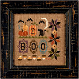 Lizzie Kate - A Little Boo Kit-Lizzie Kate, A Little Boo Kit, Halloween, pumpkins, black cat,bats, moon,  Cross Stitch Kit
