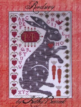 Kathy Barrick - Rodney - Cross Stitch Pattern-Kathy Barrick, Rodney, rabbit, easter bunny, male rabbit, hearts,bunny love,  Cross Stitch Pattern