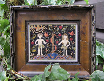 Kathy Barrick - Adam & Eve Revisited - Cross Stitch Pattern-Kathy Barrick, Adam & Eve Revisited, Garden of Eden, man, woman, snake, apple, forbidden fruit, God, Genesis, bible, old testament, Cross Stitch Pattern
