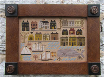 Kathy Barrick - Riley Harbor - Cross Stitch Pattern-Kathy Barrick, Riley Harbor,row houses, marina, historic, sampler,whale, ships, lobster, Cross Stitch Pattern
