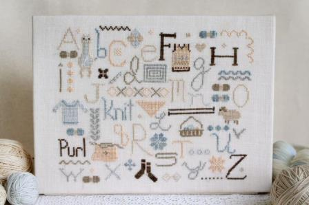 October House - Knitter's Alphabet-October House - Knitters Alphabet, knitting needles, yarn, socks, wool, KNIT, PURL, CROSS STITCH