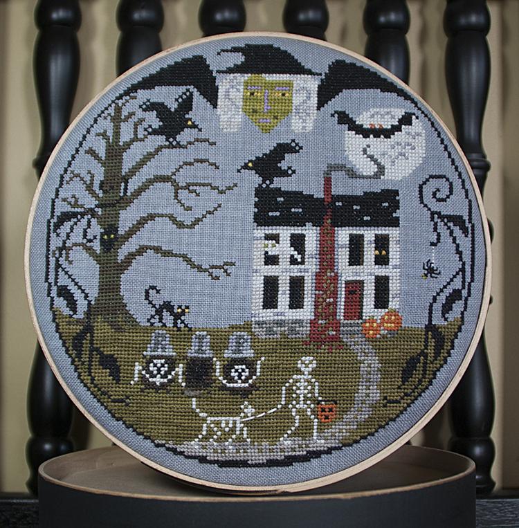 Lone Elm Lane - Halloween Resurrection-Lone Elm Lane - Halloween Resurrection - haunted house, skeleton, scary, bats, witch, pumpkin, crow, Cross Stitch Pattern