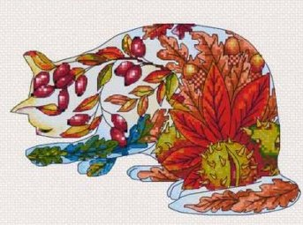 Lena Lawson Needlearts - Flower Cats Collection - Autumn Cat - Cross Stitch Pattern-Lena Lawson Needlearts,  Flower Cats Collection, Autumn Cat, Fall, kitty,  - Cross Stitch Pattern