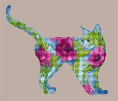 Lena Lawson Needlearts - Flower Cats Collection - Anemone Cat - Cross Stitch Chart-Lena Lawson Needlearts, Flower Cats Collection, Anemone Cat, cats, floral, Cross Stitch Chart