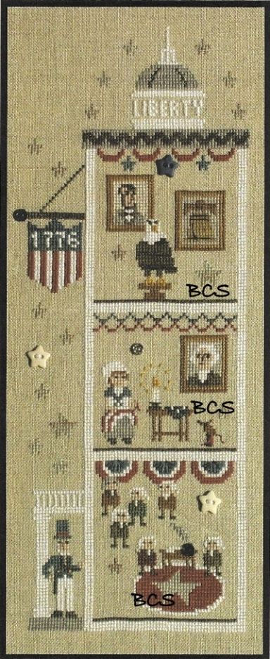 Bent Creek - The Liberty House - Let Freedom Ring - Cross Stitch Chart-Bent,Creek,The,Liberty,House,Let,Freedom, Ring,Cross,Stitch,Chart,patriotic, american, flag, eagle, white, house, stars, bell, george washington, abraham lincoln, betsy ross, sewing, congress, uncle sam, declaration, of, independence,snapper