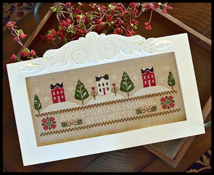 Little House Needleworks - Three Snowy Hills-Little House Needleworks - Three Snowy Hills, Christmas, winter, snow, trees, house, family, cross stitch