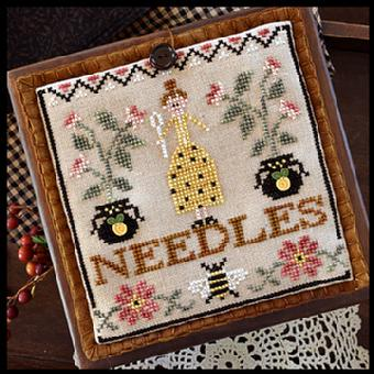 Little House Needleworks - Pretty in Perle - Needle Lady Pocket - Cross Stitch Pattern-Little House Needleworks, Needle Lady Pocket, needle book, bee, flower buttons, stitching book, Cross Stitch Pattern