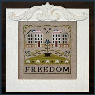 Little House Needleworks - Freedom House-Little House Needleworks, Freedom House, patriotic, 4th of July, American flag, USA, neighborhood, colonial, Cross Stitch Chart