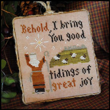 Little House Needleworks - Ornament of the Month 2011 - Good Tidings-Little House Needleworks,Ornament of the Month 2011, No. 12, Good Tidings, bible verse, lamb, shepherd, Jesus, star, Cross Stitch Pattern