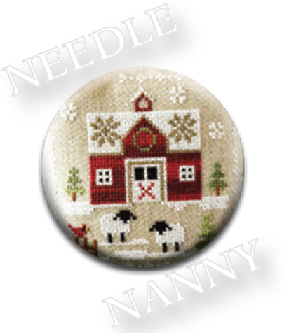 Stitch Dots - Farmhouse Christmas - Little Red Barn Needle Nanny by Little House Needleworks-Stitch Dots - Farmhouse Christmas - Little Red Barn Needle Nanny by Little House Needleworks, cross stitch, magnets, needles, scissors,