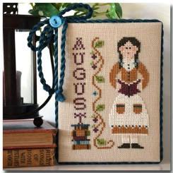 Little House Needleworks - Calendar Girls - Part 08 - August-Little House Needleworks, Calendar Girls,  August,monthly, reading, summer,  Cross Stitch Pattern