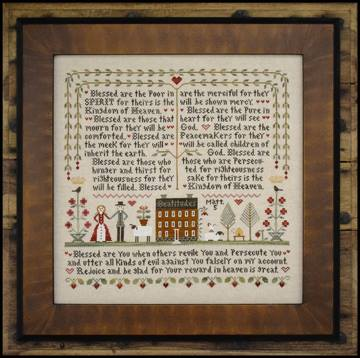 Little House Needleworks - Beatitudes (The)-Little House Needleworks - The Beatitudes, bible verse, Matthew 5, gospel, new testament, cross stitch
