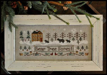 Little House Needleworks - Bear Tree Forest-Little House Needleworks, Bear Tree Forest, bears, snow, pine trees, cabin in the woods, snowman, acorn, squirrels, turkey, snowflakes, Cross Stitch Pattern