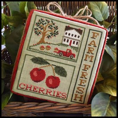 Little House Needleworks - Farm Fresh Cherries-Little House Needleworks, Farm Fresh Cherries, country farm, George Washington, cherries, cherry tree, Cross Stitch Pattern