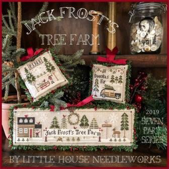 Little House Needleworks - Jack Frost's Tree Farm-Little House Needleworks - Jack Frosts Tree Farm, Christmas, Christmas trees, decorating,  winter, frosty, Christmas tree lot, cross stitch