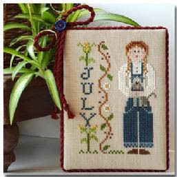 Little House Needleworks - Calendar Girls - Part 07 - July-Little House Needleworks,  Calendar Girls,  Part 7 of 12, July, 4th of July, girl with dog, blue jeans, months, calendar, summer, Cross Stitch Pattern